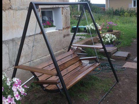 Чертежи с размерами садовых качелей из металла и дерева: 75 фото
