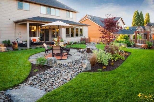 Благоустройство и оформление ландшафтного дизайна придомовой территории частного дома своими руками фото