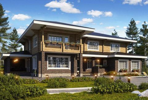 Проекты комбинированных домов из кирпича и бруса: обкладка и облицовка