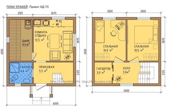 Каркасная баня с мансардой 6х6, 6х5, 6х4: проект и планировка своими руками, фото