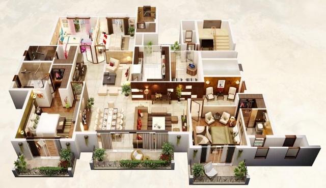 Планировка четырехкомнатной квартиры - готовые планы с размерами