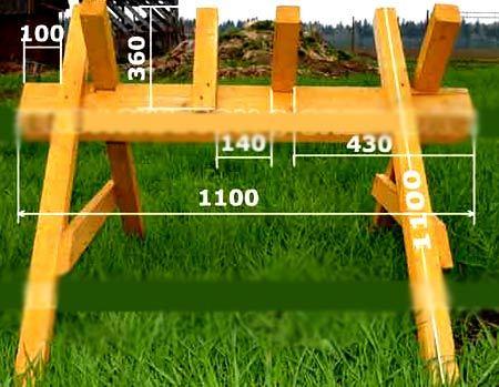 Козлы для распиловки дров бензопилой: как их сделать своими руками